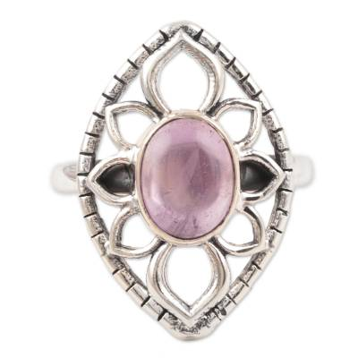 Amethyst cocktail ring, 'Charismatic Petals' - Floral Shape Amethyst Cocktail Ring Crafted in India