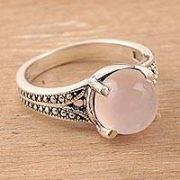 Rose quartz single-stone ring, 'Gleaming Pink' - Rose Quartz Single-Stone Ring Crafted in India