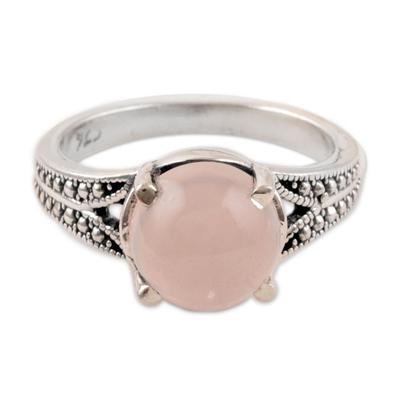 Rose quartz single-stone ring, 'Gleaming Pink' - Rose Quartz Single-Stone Ring Crafted in India