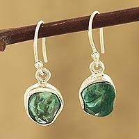 Apatite dangle earrings, 'Ocean Nuggets' - Apatite Nugget Dangle Earrings Crafted in India