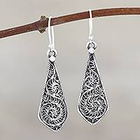 Sterling silver dangle earrings, 'Swirling Blades' - Swirl Pattern Sterling Silver Dangle Earrings from India