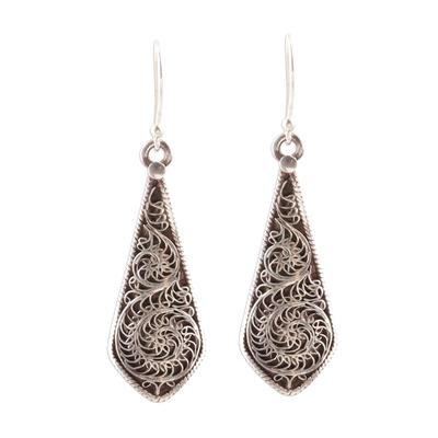 Sterling silver dangle earrings, 'Swirling Blades' - Swirl Pattern Sterling Silver Dangle Earrings from India