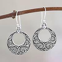 Sterling silver dangle earrings, 'Swirling Loops' - Swirl Pattern Sterling Silver Loop Dangle Earrings