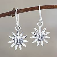 Sterling silver dangle earrings, 'Sunflower Glitter' - Sterling Silver Sunflower Dangle Earrings from India