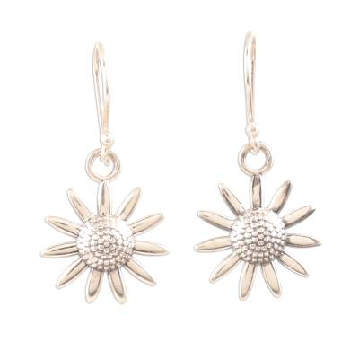 Sterling silver dangle earrings, 'Sunflower Glitter' - Sterling Silver Sunflower Dangle Earrings from India