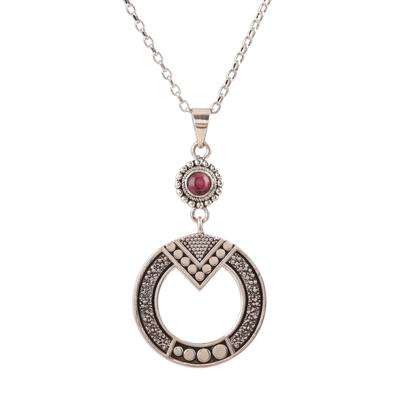 Garnet dangle earrings, 'Egyptian Appeal' - Round Pattern Garnet Pendant Necklace from India