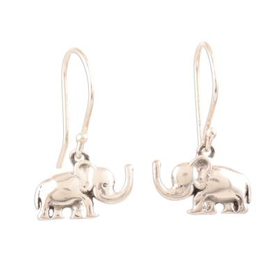 Sterling silver dangle earrings, 'Excited Elephants' - Sterling Silver Elephant Dangle Earrings Crafted in India