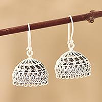Sterling silver dangle earrings, 'Intricate Jhumki'