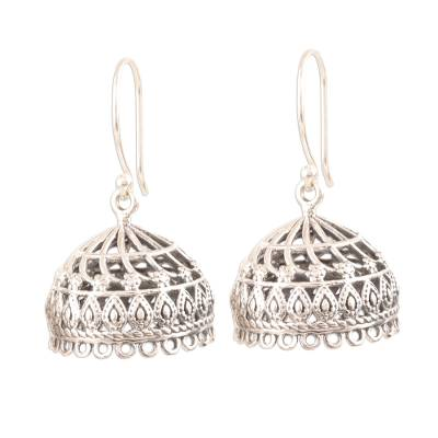 Sterling silver dangle earrings, 'Intricate Jhumki' - Openwork Sterling Silver Jhumki Dangle Earrings from India