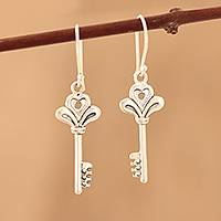 Sterling silver dangle earrings, 'Powerful Keys' - Sterling Silver Key Dangle Earrings from India