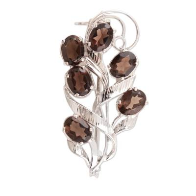 Dazzling Smoky Quartz Brooch Pin from India