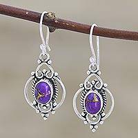 Sterling silver and gemstone dangle earrings, 'Regal Joy' - Sterling Silver and Purple Gemstone Earrings