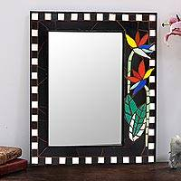 Ceramic tile mosaic wall mirror, 'Colorful Blossom' - Ceramic Tile Floral Mosaic Wall Mirror from India