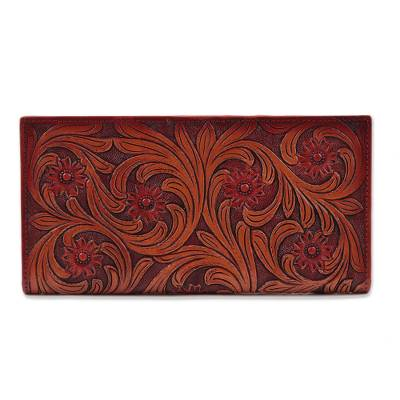 Floral Pattern Leather Wallet in Red from India