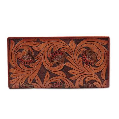 Floral Pattern Leather Wallet in Brown Crafted in India