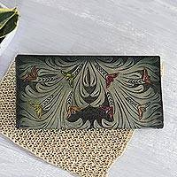 Leather wallet, 'Verdant Vines' - Floral Pattern Green Leather Wallet Crafted in India