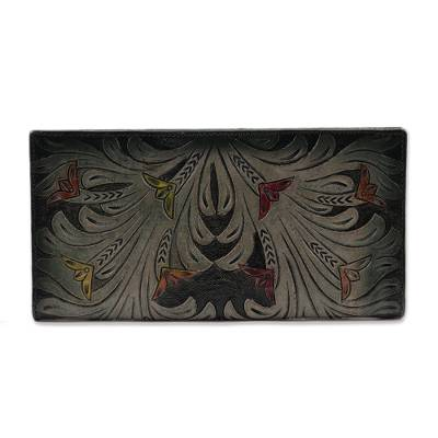 Floral Pattern Green Leather Wallet Crafted in India