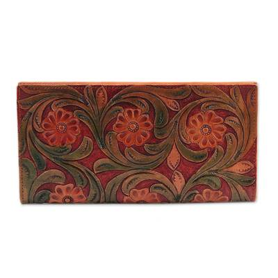 Colorful Floral Leather Wallet Crafted in India
