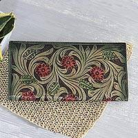 Leather wallet, 'Swaying Vines' - Floral Pattern Leather Wallet in Green from India