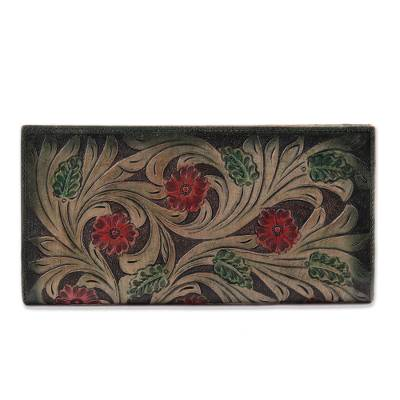 Floral Pattern Leather Wallet in Green from India