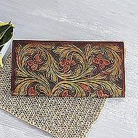 Leather wallet, 'Floating Blossoms' - Floral Pattern Leather Wallet Crafted in India