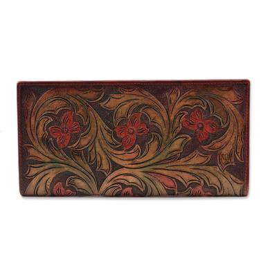 Floral Pattern Leather Wallet Crafted in India