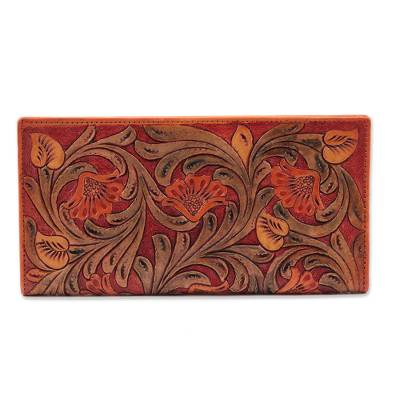Patterned Floral Motif Leather Wallet from India