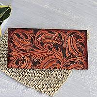 Leather wallet, 'Heavenly Vines' - Patterned Vine Motif leather Wallet in Nutmeg from India