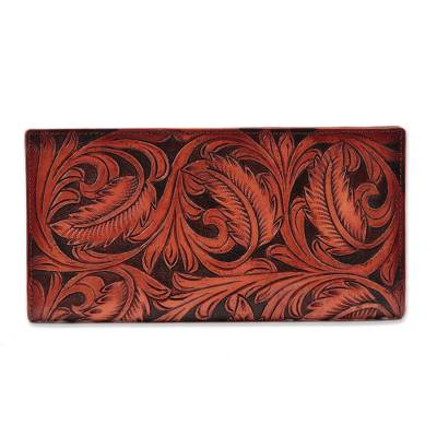 Patterned Vine Motif leather Wallet in Nutmeg from India