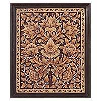 Marble wall art, 'Floral Blast' - Artisan Crafted Floral Marble Wall Art Crafted in India