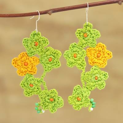 Glass beaded cotton dangle earrings, 'Floral Cluster in Spring Green' - Spring Green and Marigold Floral Cotton Dangle Earrings