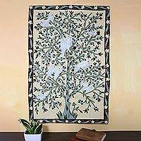 Wool chain stitch tapestry, 'Abode of Birds I' - Hand Crafted Indian Chain Stitch Tapestry