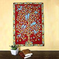 Wool chain stitch tapestry, 'Abode of Birds II' - Bird-Themed Wool Chain Stitch Tapestry from India