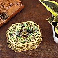 Decorative wood box, 'Persian Shield' - Small Hand Painted Jewelry or Trinket Box from India