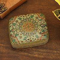 Decorative wood box, 'Persian Garland' - Hand Crafted Wood Box from Indian Artisan