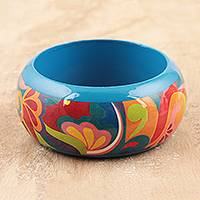 Wood bangle bracelet, 'Abstract Peacock' - Hand-Painted Abstract Haldu Wood Bangle Bracelet from India
