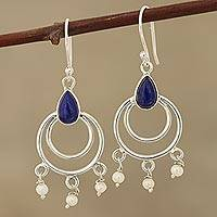 Lapis lazuli and cultured pearl dangle earrings, 'Royal Aesthetic' - Lapis Lazuli and Cultured Pearl Dangle Earrings from India