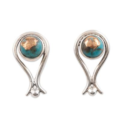 Composite Turquoise Drop Earrings from India