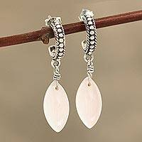 Chalcedony dangle earrings, 'Soft Delight' - Pink Chalcedony Half-Hoop Dangle Earrings from India