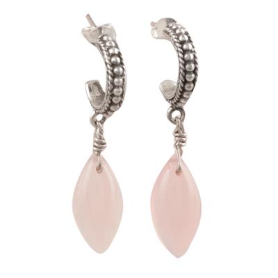 Pink Chalcedony Half-Hoop Dangle Earrings from India
