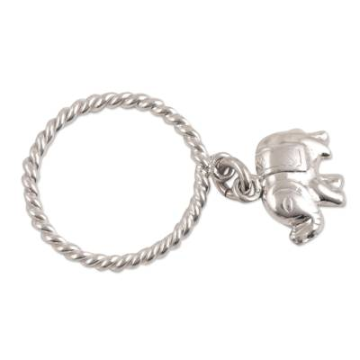 Sterling silver band ring, 'Elephant Rope' - Sterling Silver Band Ring with Elephant Charm from India