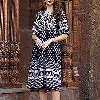 Embroidered viscose dress, 'Bohemian Charm' - Mixed Print Dark Blue Midi Dress from India