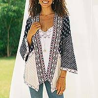 Viscose patchwork jacket, 'Boho Beauty'
