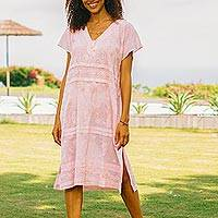 Embroidered cotton shift dress, 'Paisley Garden in Pink' - Embroidered Pink Cotton Shift Dress from India