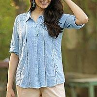 Embroidered cotton blouse, 'Elegant in Sky Blue' - Artisan Designed Sky Blue Embroidered Cotton Blouse