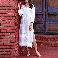 Embroidered cotton caftan, 'Lucknow Lily' - Long White Embroidered Caftan from India