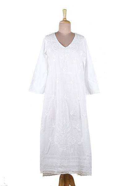 Long White Embroidered Caftan from India