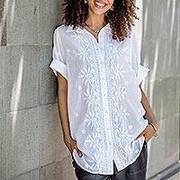 Embroidered cotton blouse, 'Lucknow Festivity'