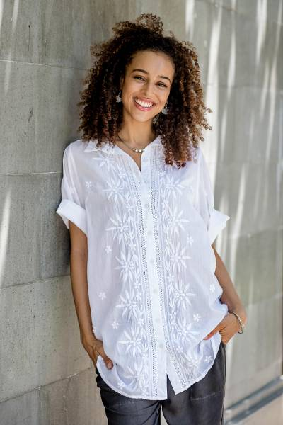 Embroidered cotton blouse, 'Lucknow Festivity' - Chikankari Embroidered White Button Front Blouse