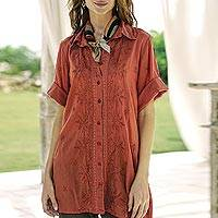 Embroidered cotton shirt, 'Chikan Chic' - Embroidered Floral Terracotta Cotton Shirt